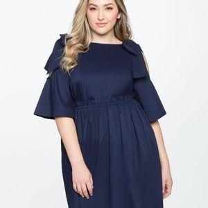 Navy tie-shoulder midi dress from Eloquii size 14